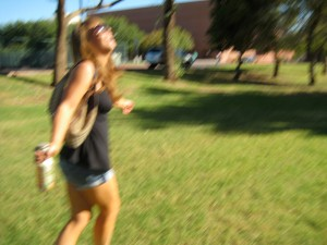 My first trip to ASU. I was not used to the Desert heat. I think in this picture I saw a mirage.