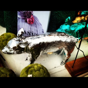 Silver pig at a gift store