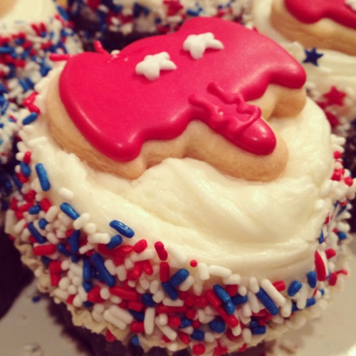 My mom asked my dad to get fun election cupcakes from Crumbs. He came back with only Republican cupcakes... Typical.