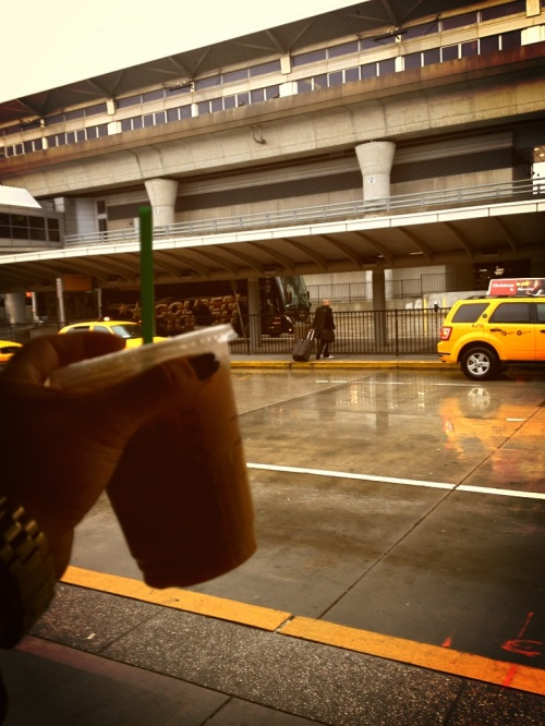 Rain or shine, skinny hazelnut latte all the time.