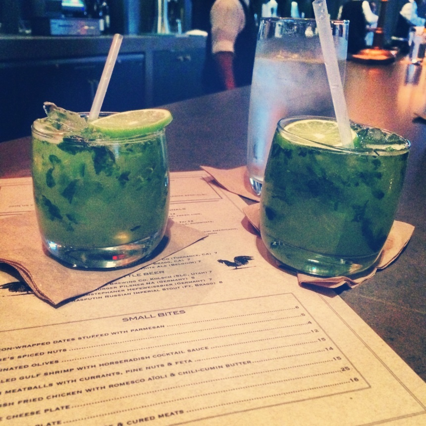 Green basil drinks from Tavern on Saturday
